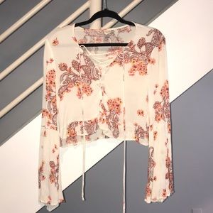 Boho crop long sleeve shirt